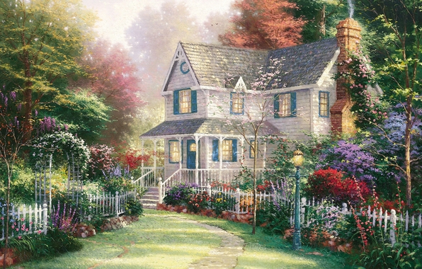 Victorian Garden II, Thomas Kinkade (596x380, 231Kb)