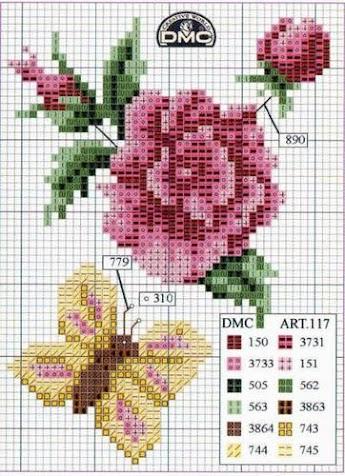 Вышивка крестом - розы.