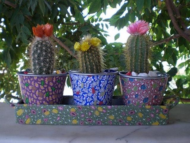 Декор цветочных горшков своими руками из фото
