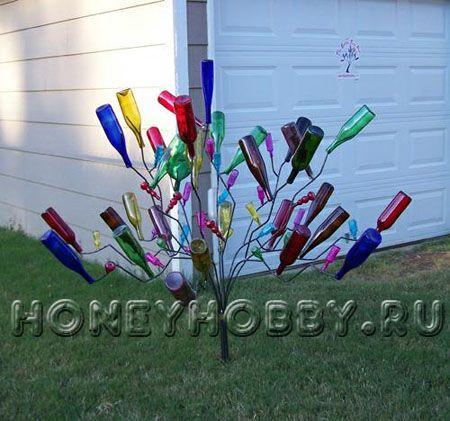 Изделия из стеклянных бутылок своими руками для сада