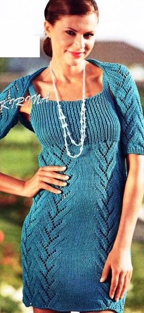 Платье и шраг спицами