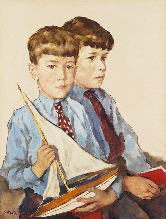 1938 Lotte Lasser Stein - German artist - two boys with a sailboat (531x700, 190Kb)