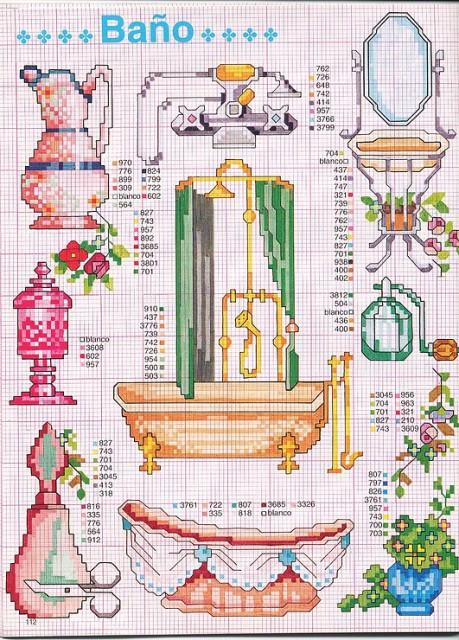Вышивка крестом для ванны и туалета 75