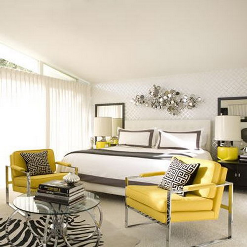 Yellow white and gray bedroom