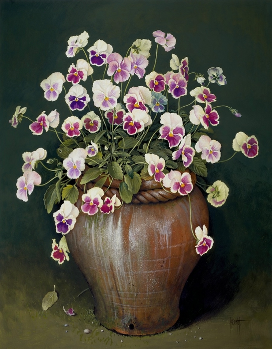 MIXED PANSIES ON CLAY POT 61x48 cms gouache on paper 1991 (545x700, 289Kb)