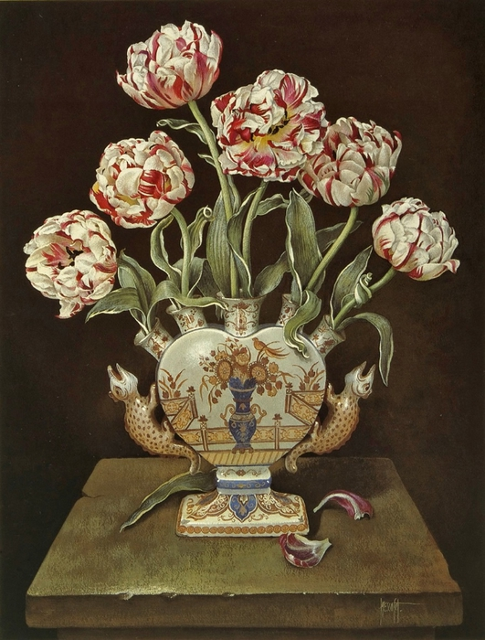 PINK AND WHITE TULIPS IN TULIP VASE66x51 cmGouache1989 (531x700, 298Kb)