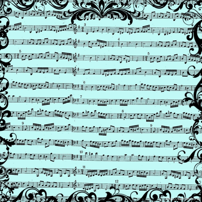 free digital scrapbook paper_blue music sheet background (700x700, 515Kb)