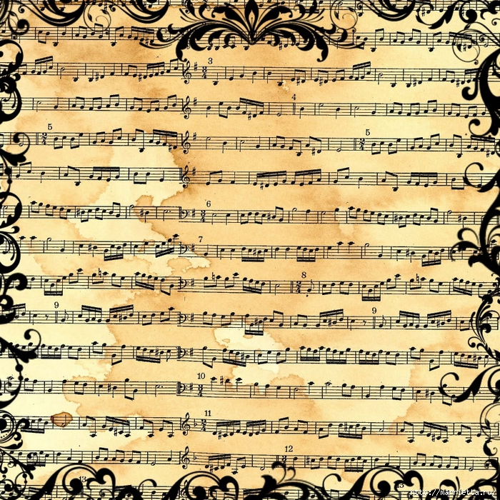 free digital scrapbook paper_music sheet collage_backgound (700x700, 605Kb)