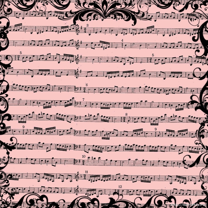 free digital scrapbook paper_pink music sheet background (700x700, 506Kb)