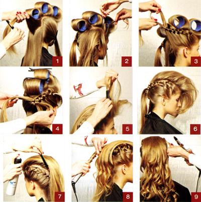 1. Выделить в теменной и макушечной зонах прямоугольную секцию, и накрутить волосы на крупные бигуди.