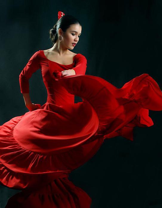 Прическа с красной розой для танца фламенко