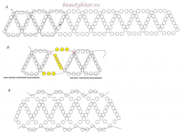 2 этап — плетение основы колье