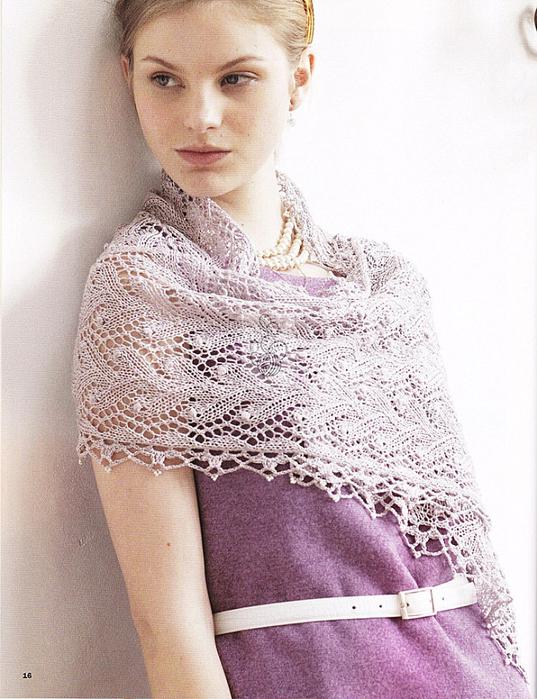 Палантины шарфы спицами 1