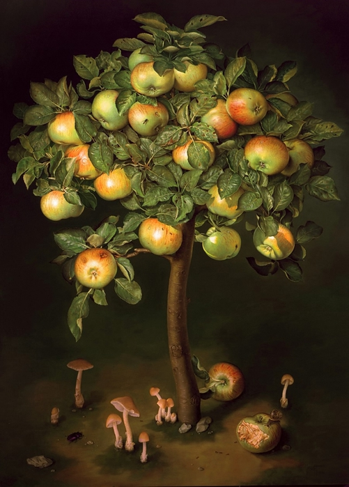 APPLE TREE WITH TOADTOOLS 114x81 cms Oil on canvas 1996 (501x700, 238Kb)