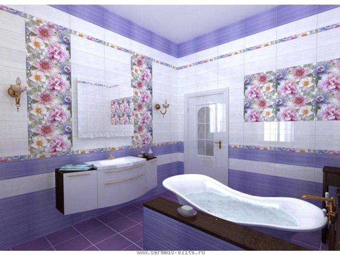 Дизайн сиреневой ванны