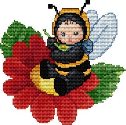 Схема пчелки вышивка крестом.