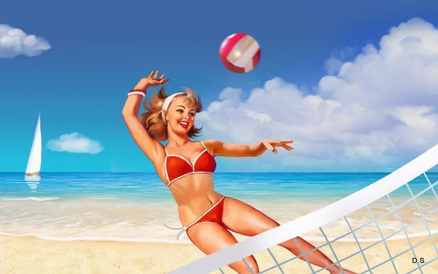 Розыгрыш мяча прекращается сразу же после того, как мяч...  Пляжный волейбол играется в две партии.