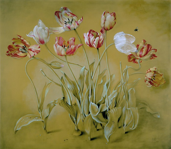THE TULIP GARDEN 66x76 cms mixed media on panel 1998 (700x610, 96Kb)