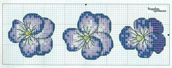 Схема для вышивки крестом анютины глазки.  В средневековые времена анютины глазки считались символом верности.