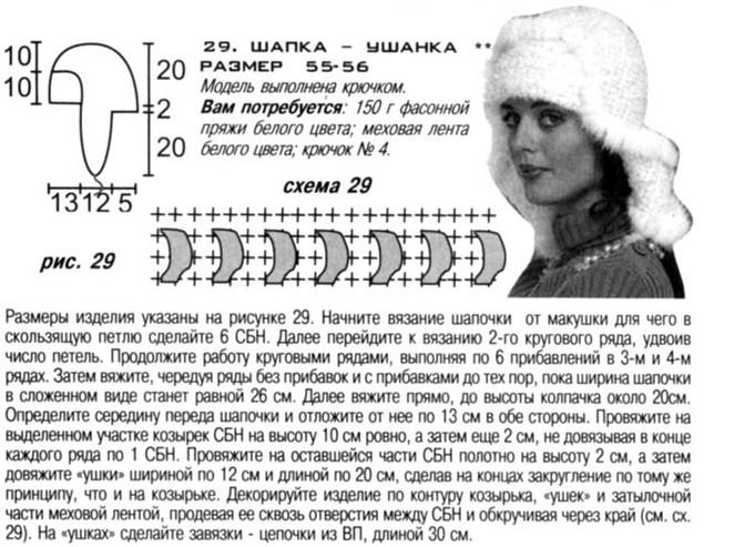Вязание спицами шапки-ушанки 3