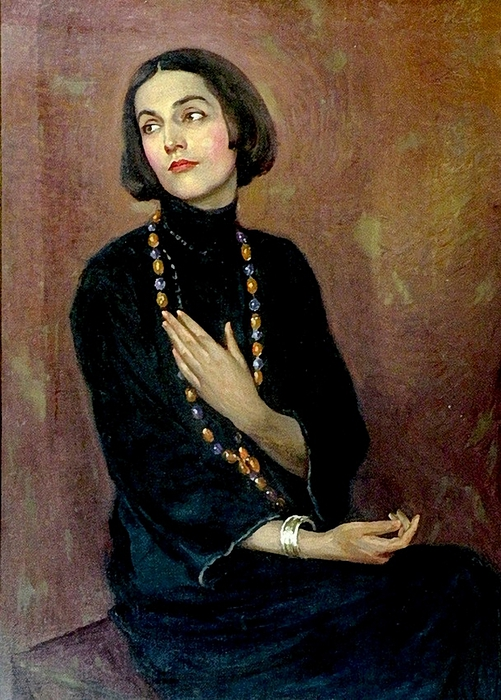 Paul SwanPortrait of Isadora Duncan wearing a blue dress and coloured bead necklace,1922 (501x700, 297Kb)