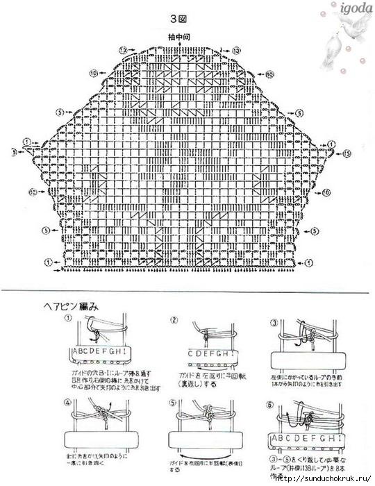 Схемы для филейного вязания летних кофточек 23
