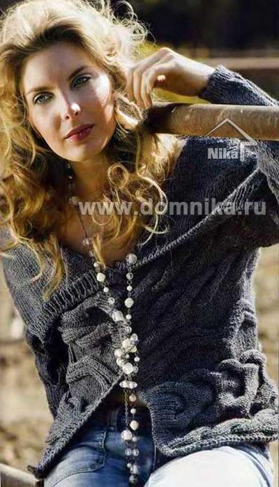 Жакет поперечное вязание
