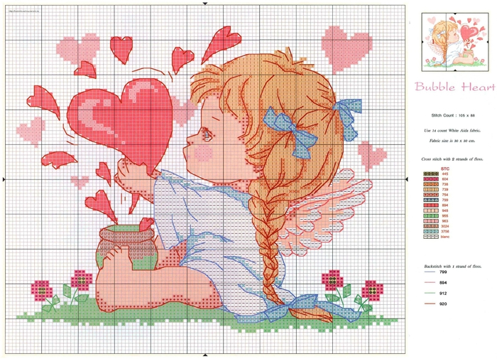 вышивка ангел с сердечками, схема.