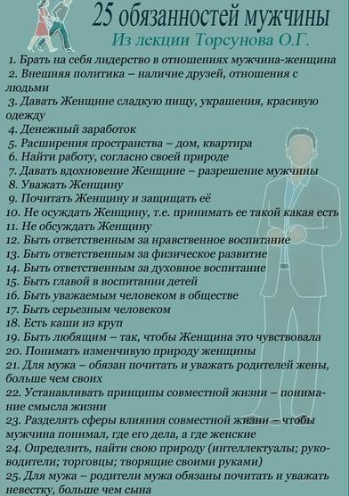 25 обязанностей женщин и мужчин