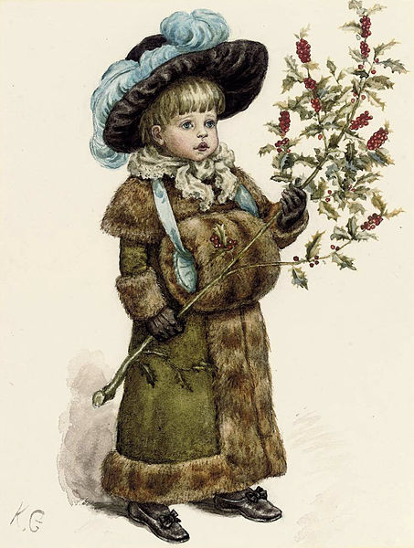 453px-Kate_Greenaway_A_young_girl_dressed_up_for_Christmas (453x600, 69Kb)
