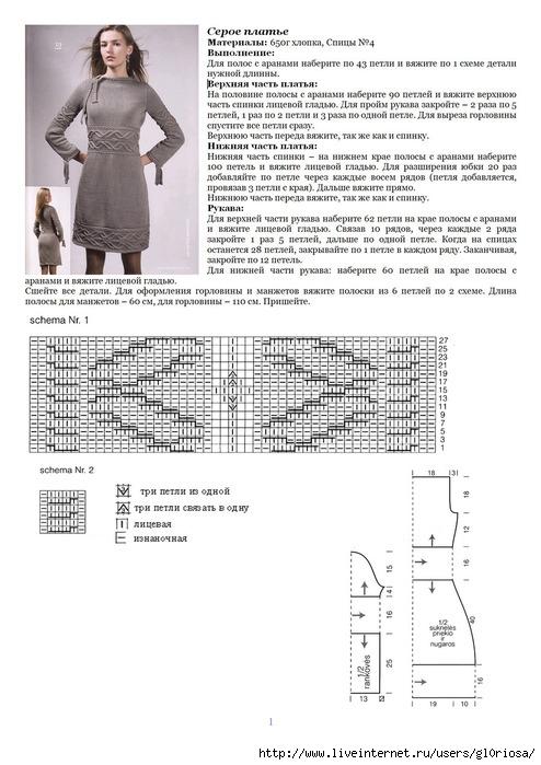 Схема вязания для платья с длинным рукавом 849