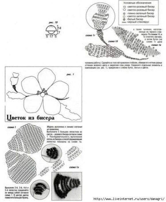 простые цветы из бисера. схема плетения цветов из бисера, бесплатное.