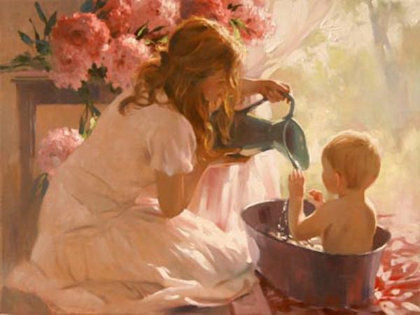 "Схема вышивки  ""Мама и малыш "" ."