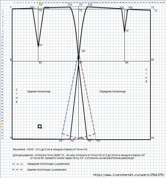 Чертеж прямой юбки (576x615,