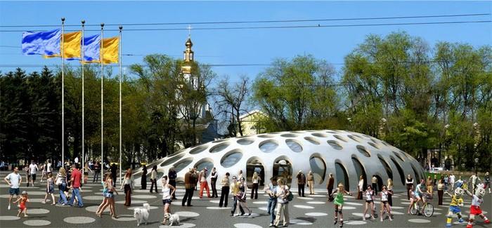 Современная архитектура Харькова - проект площади Конституции 1 (700x325, 94Kb)