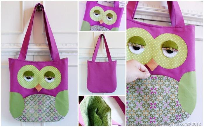 borsa gufo - Owl tote bag - pink green[7] (700x437, 106Kb)