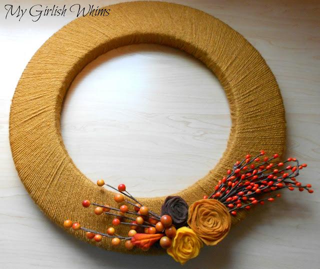 Yarn Wrapped Fall Wreath (640x538, 117Kb)