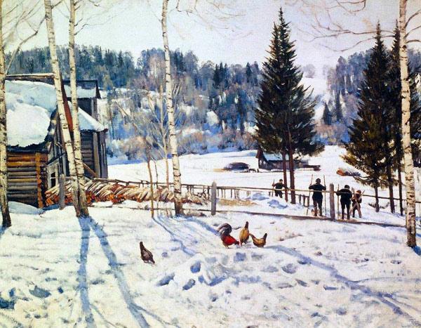 1929 Конец зимы. Полдень. Лигачево. (600x467, 114Kb)