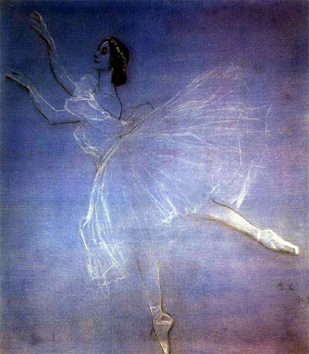 Серов Валентин Александрович - Анна Павлова в балете Сильфиды. 1909 (610x700, 556Kb)