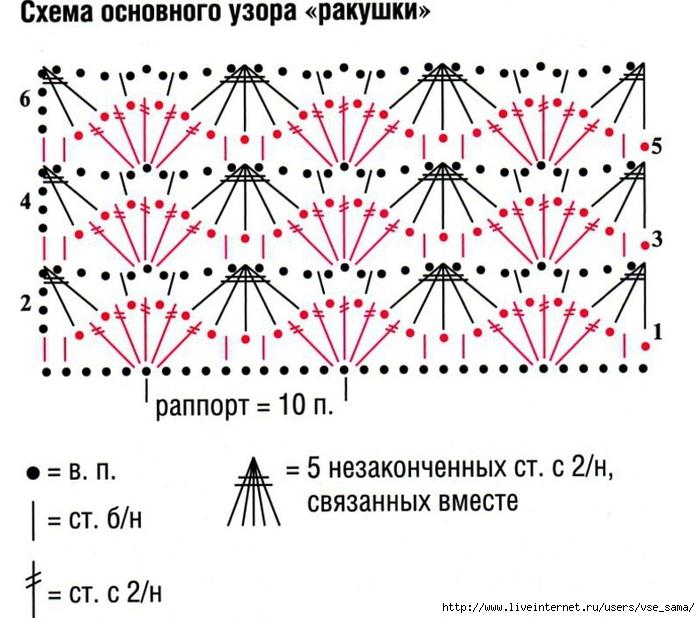Орнамент крючком со схемами двухцветный