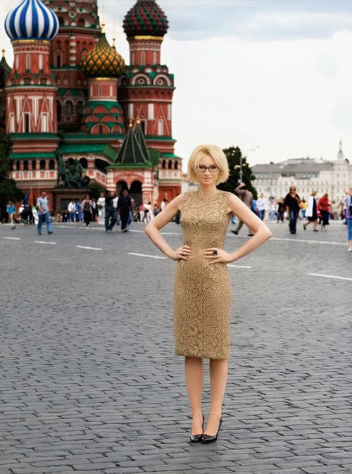 Эвелина хромченко в бежевом кружевном платье