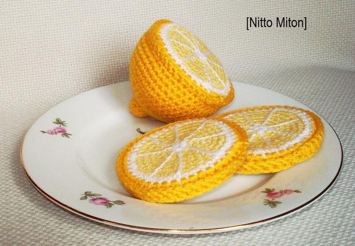 Вязание еды - лимон и лимон в