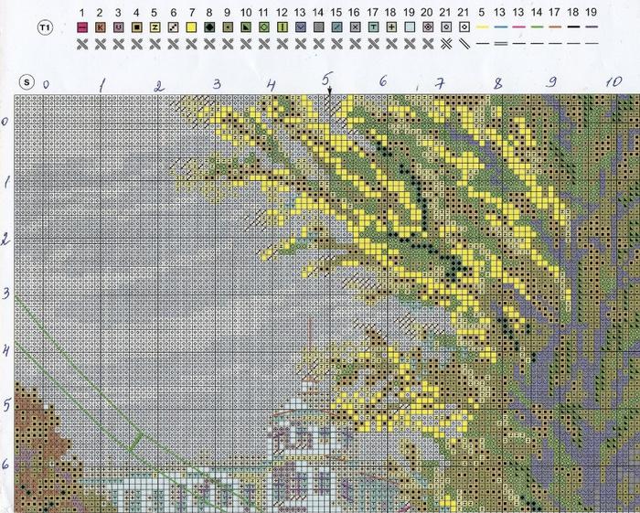 Схема и ключ к вышивке Осень в городе (Riolis) 1 из 2.