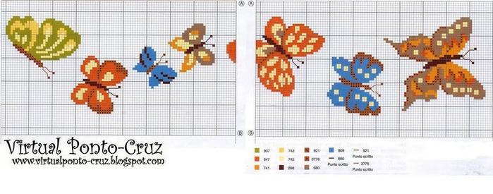 Схемы крестиком бабочек