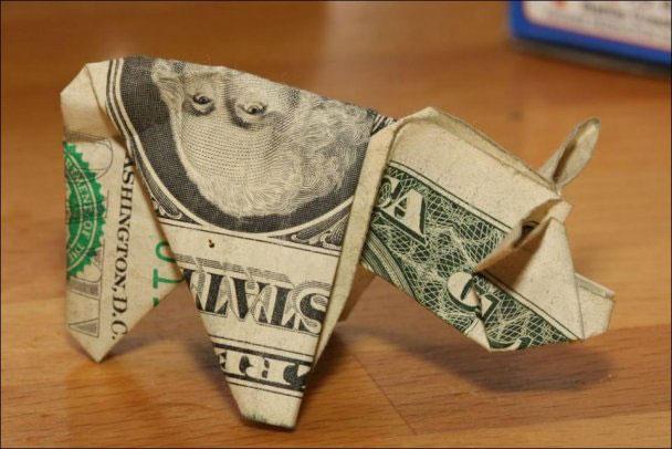 оригами из долларов (608x406, 53Kb)