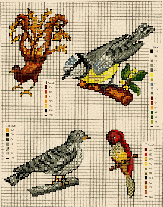 Мини вышивка Птицы.