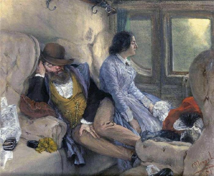 Adolph Friedrich Erdmann Menzel -  Dans le train - 1851 (700x575, 69Kb)