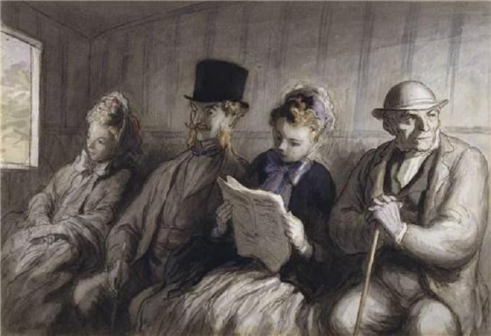 Honor? Daumier - Int?rieur d'un wagon de premi?re classe. crayon et aquarelle - 1851 (700x479, 46Kb)