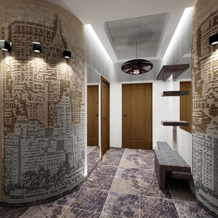 Оформление стен в коридоре фото