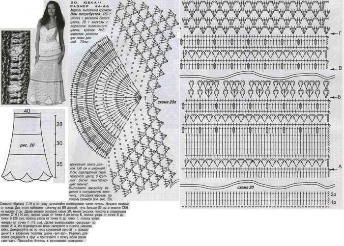 Вязание крючком юбки для женщин со схемами 48